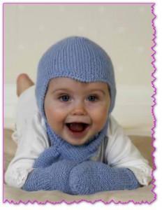 вязанные шапку и шарфик для ребенка