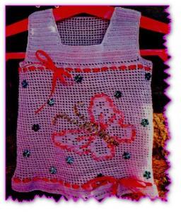 Кофточка для девочки с филейным узором бабочка
